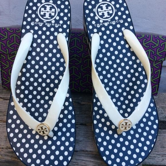8d7b3751fa580 New Tory Burch polka dot wedge sandals 10